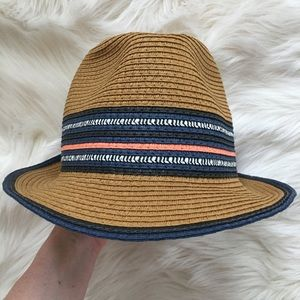 Striped fedora with navy and pink